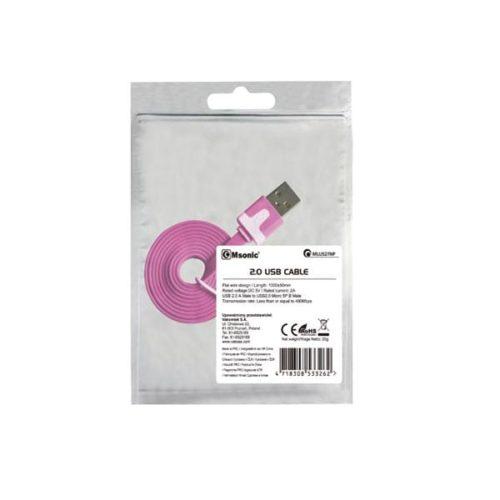 Καλώδιο USB σε Micro USB Msonic για smartphone ροζ 1m