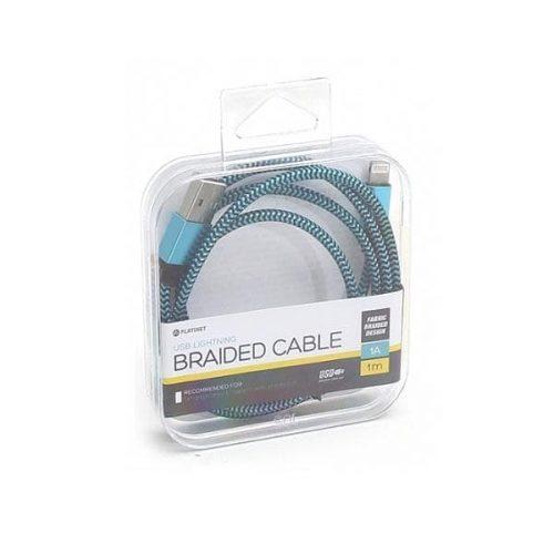 Καλώδιο USB data για iPhone5/iPad με fabric braided επένδυση καλωδίου OMEGA 1m πράσινο