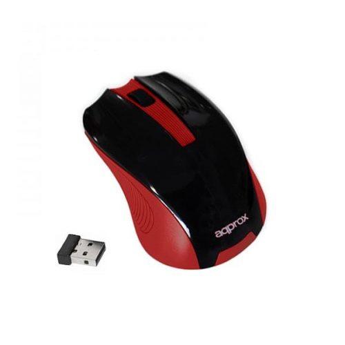 Ποντίκι Approx APPWMER 2.4Ghz ασύρματο με USB nano receiver black / red