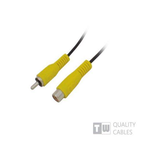 1.5M M/F 1RCA Plug To 1RCA Jack Nickel