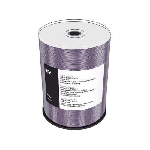 MR413 MediaRange DVD-R 16x Inkjet Fullsaurface Printable Cakebox 100 pack (bulk)