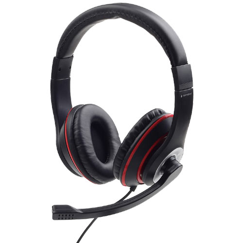 GEMBIRD JACK STEREO HEADSET BLACK WITH RED RING
