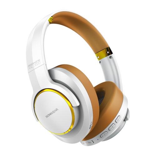 SONIC GEAR BLUETOOTH NOISE CANCEL HEADPHONES AIRPHONE ANC 3000 W.GOLD