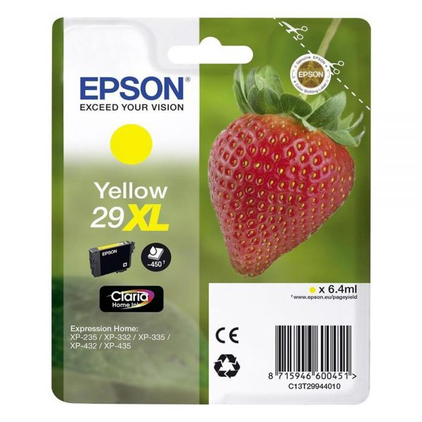 Epson Μελάνι Inkjet Series 29 Yellow XL (C13T29944012) (EPST299440) 0004952 epson inkjet series 29 yellow xl c13t29944012 epst299440 1