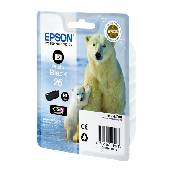 Epson Μελάνι Inkjet No.26 XL Photo Black (C13T26314012) (EPST263140) 0004964 epson inkjet no26 xl photo black c13t26314012 epst263140 1