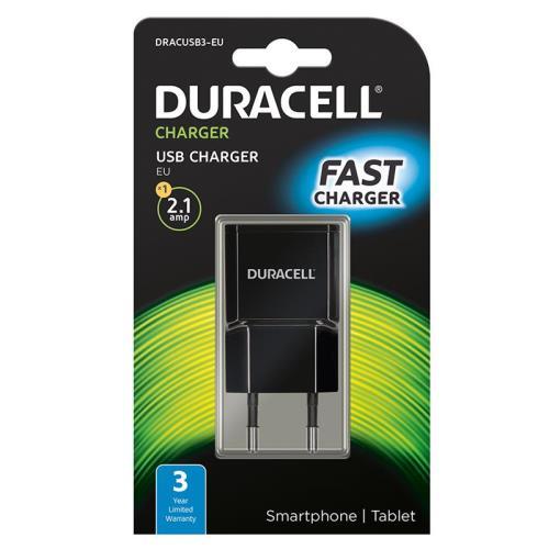 Φορτιστής Ταξιδίου Duracell με Έξοδο USB 2.1A Μαύρο